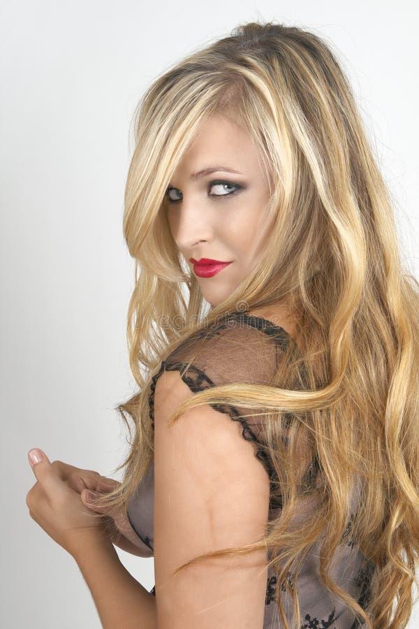 Portrait der schönen blonden Frau stockfotos