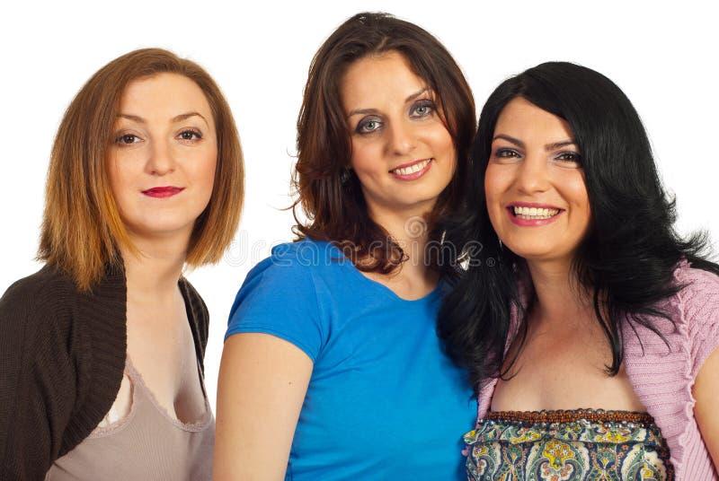Portrait der schönen drei Frauen lizenzfreie stockbilder