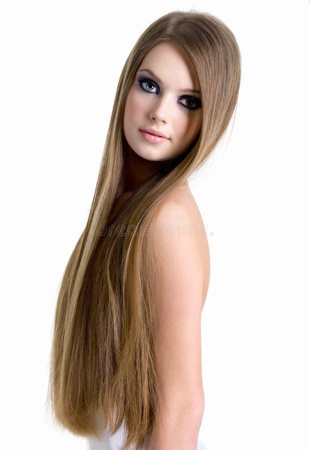 Portrait der schönen Frau mit dem langen Haar lizenzfreies stockfoto