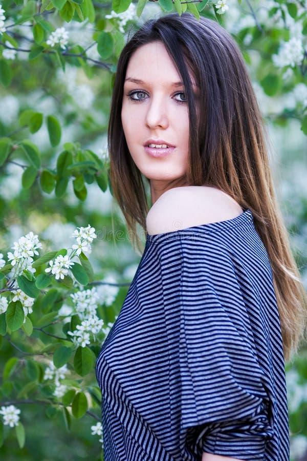 Portrait der schönen jungen Frau mit dem langen Haar stockfoto