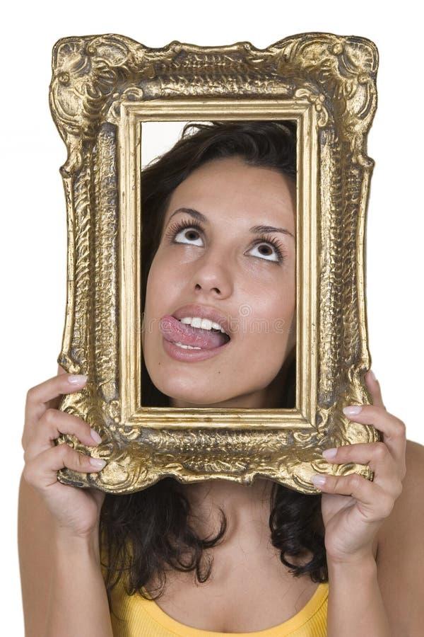 Portrait der schönen Mädchen und des Weinlesefeldes lizenzfreies stockfoto