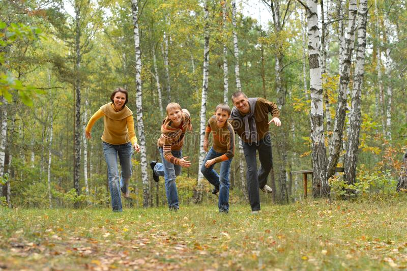 Portrait der vierköpfigen Familie, die im Herbstwald Spaß haben lizenzfreies stockfoto