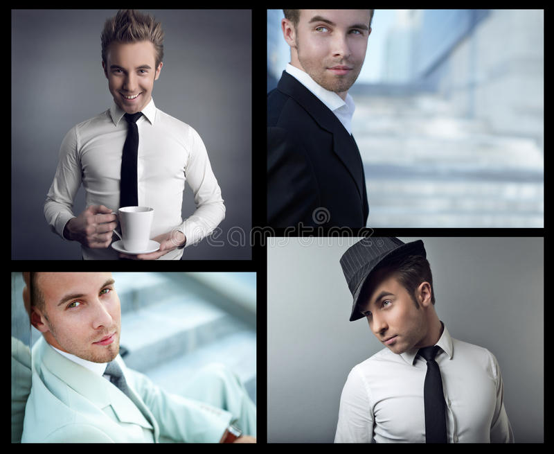 Portrait des überzeugten Geschäftsmannes. Collage. stockfotografie