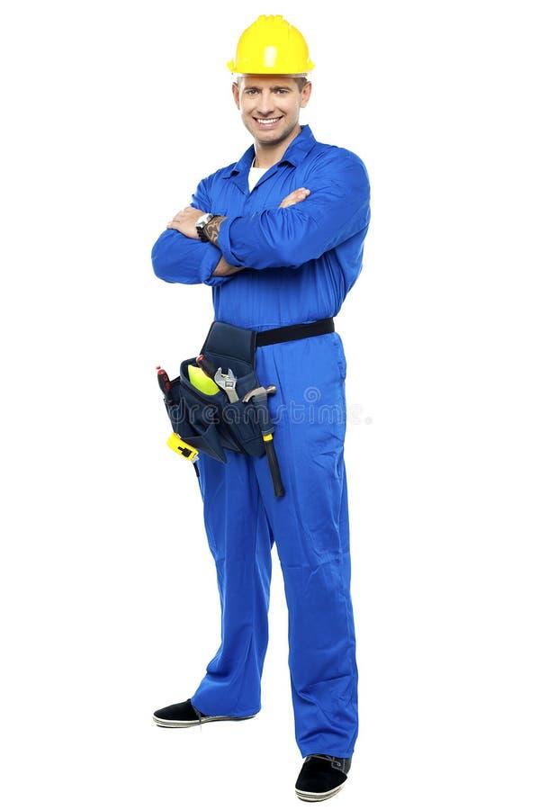 Portrait des überzeugten intelligenten Bauarbeiters lizenzfreies stockfoto