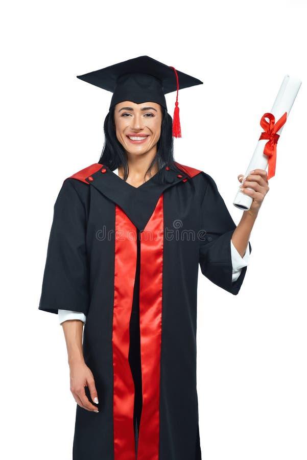 Portrait des anciennes élèves heureuses de l'université sur le fond blanc photographie stock libre de droits