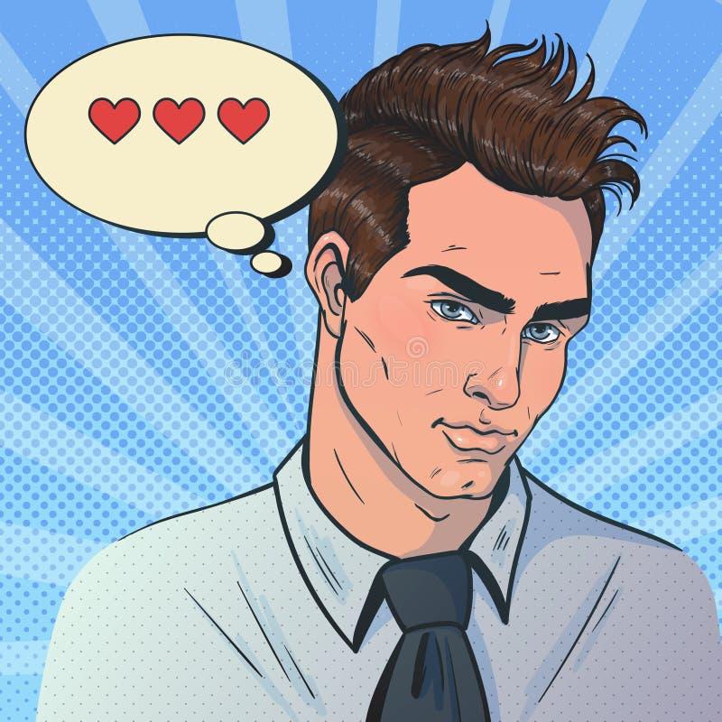 Portrait des attraktiven Mannes Mannblick auf die Kamera flirte stock abbildung