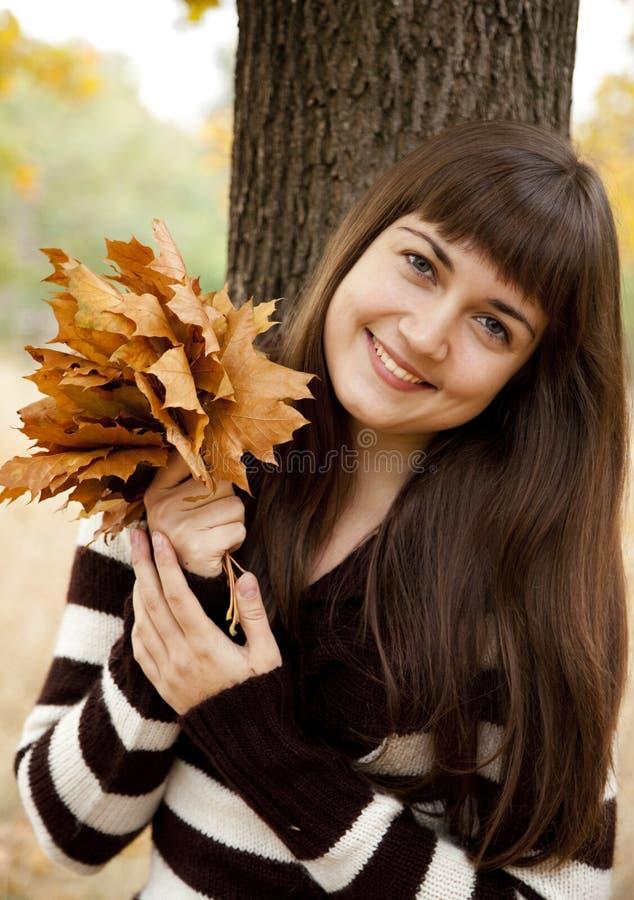 Portrait des Brunettemädchens im Herbstpark. lizenzfreies stockbild
