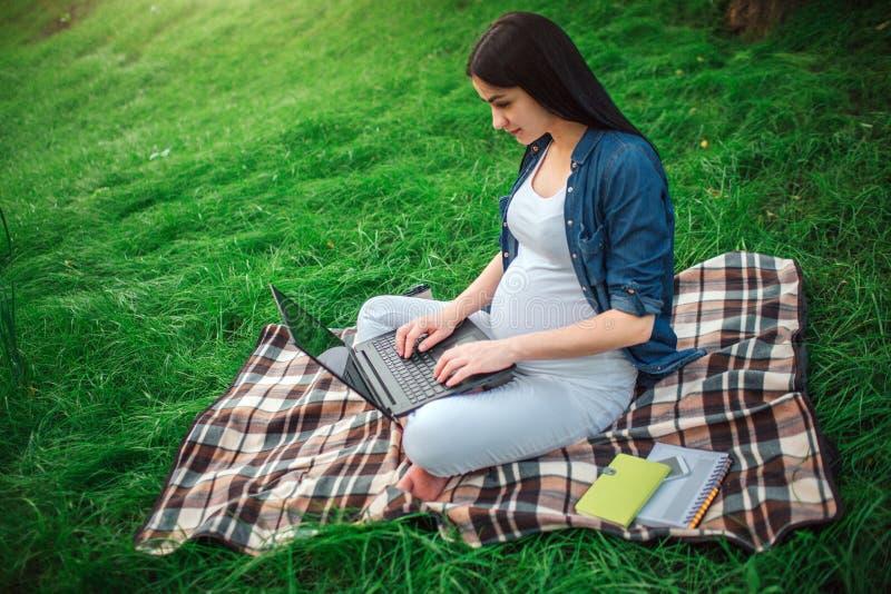 Portrait des cheveux noirs heureux et d'une femme enceinte fière en parc Le modèle femelle se repose sur l'herbe et le travail image libre de droits