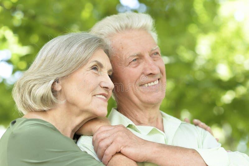 Portrait des couples mûrs heureux souriant et étreignant dehors image libre de droits