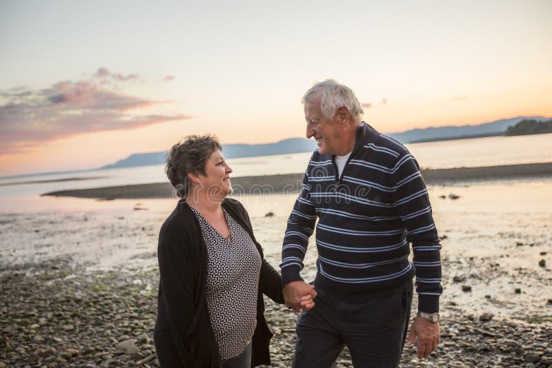 Portrait des couples supérieurs affectueux à la plage images stock