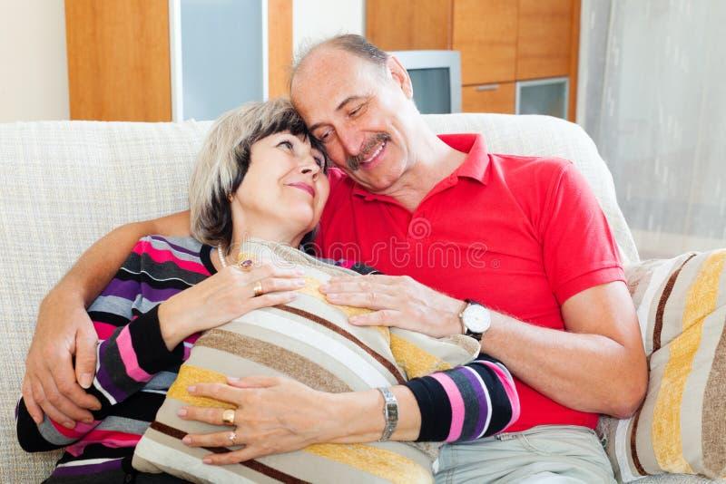 Portrait des couples supérieurs affectueux images libres de droits