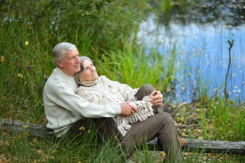 Portrait des couples supérieurs heureux se reposant par l'étang image libre de droits