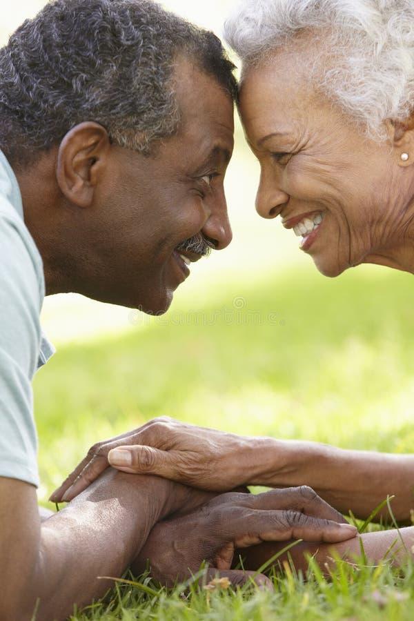 Portrait des couples supérieurs romantiques d'Afro-américain en parc images stock
