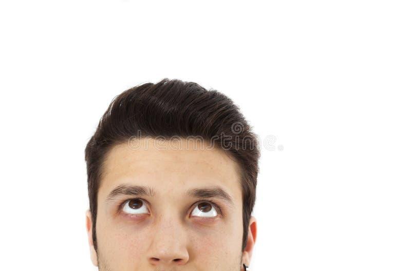 Portrait des Denkens des jungen Mannes stockfoto