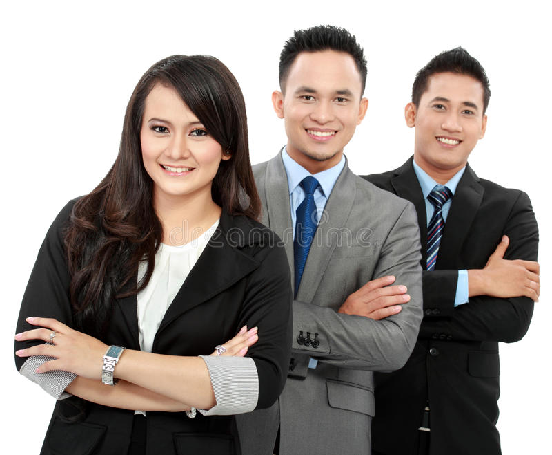 Portrait des employés de bureau heureux d'équipe images stock