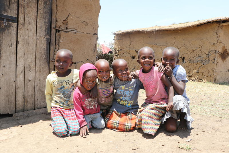 Portrait des enfants de massai images stock
