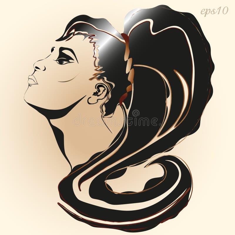 Portrait des graphiques d'un style de fille illustration de vecteur