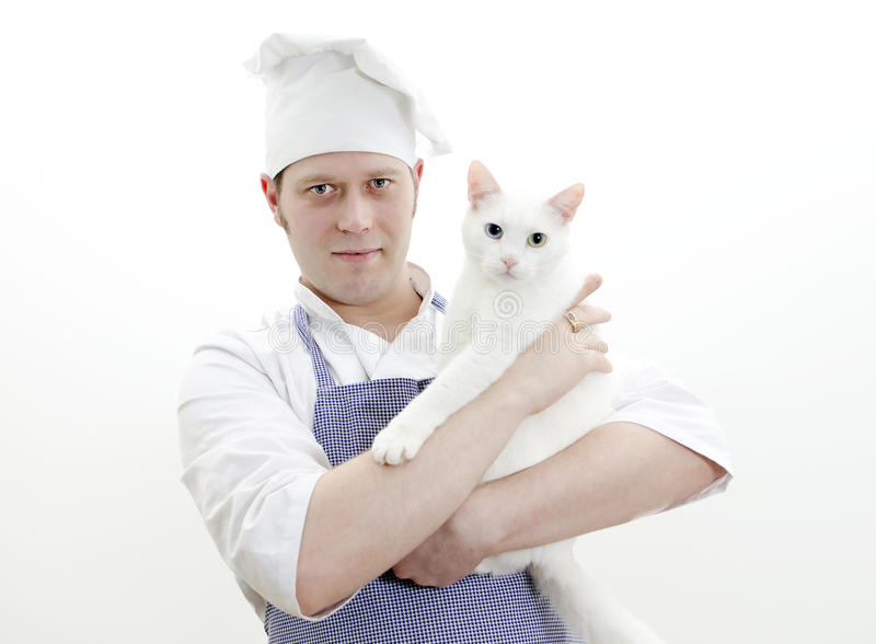 Portrait des Hauptkochs mit Katze lizenzfreies stockbild