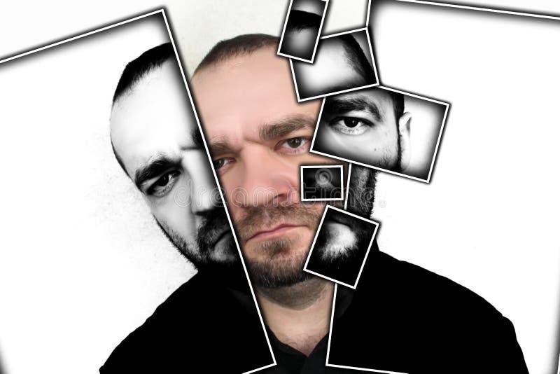 Portrait des hommes fâchés sur un fond gris image stock