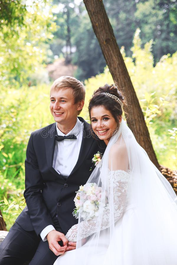Portrait des jeunes mariés heureux extérieur dans l'emplacement de nature en parc images libres de droits