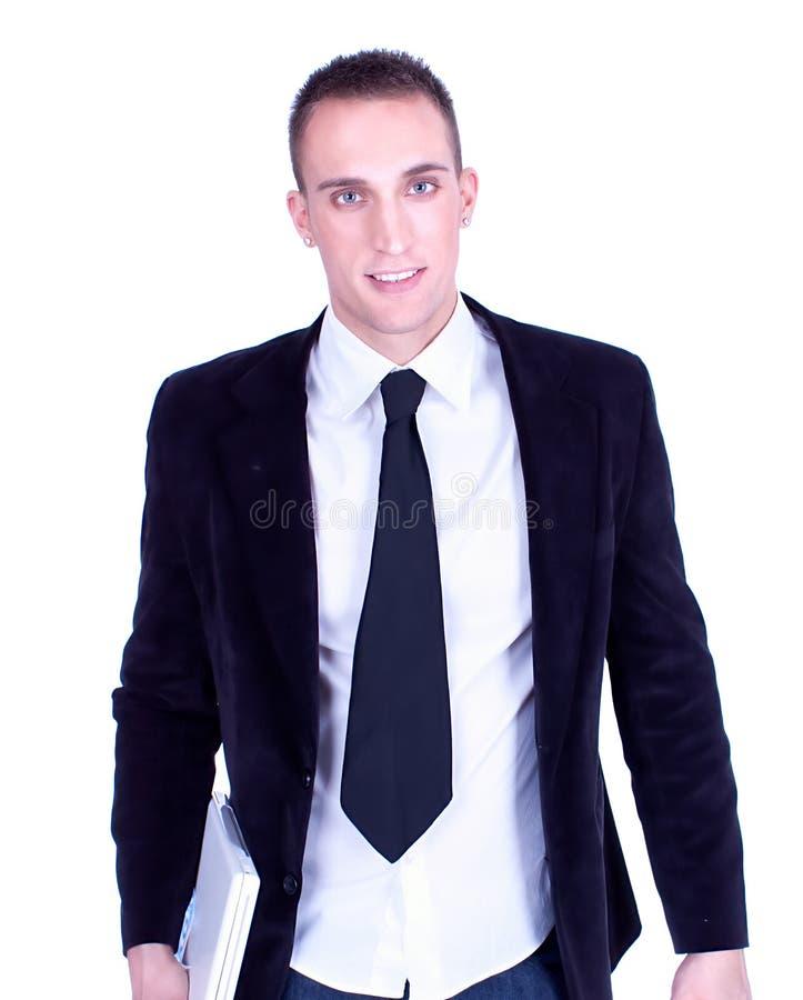 Portrait des jungen Geschäftsmannes mit Laptop lizenzfreie stockfotografie