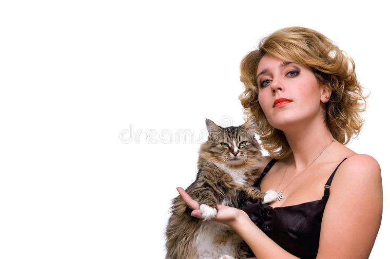 Portrait des jungen Mädchens mit Katze lizenzfreie stockfotografie