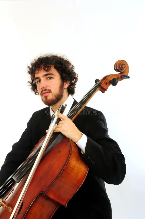 Portrait des jungen Mannes mit Cello lizenzfreie stockfotos