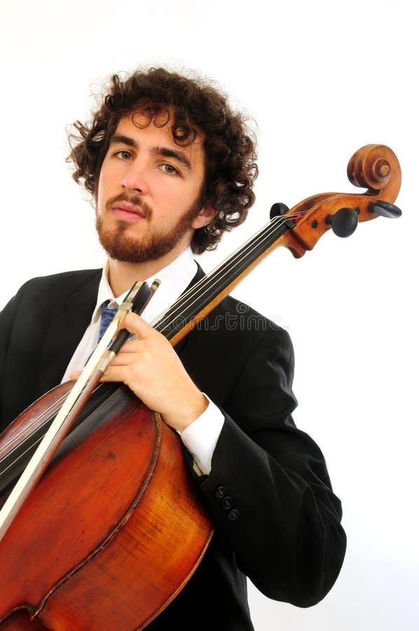 Portrait des jungen Mannes mit Cello stockbild