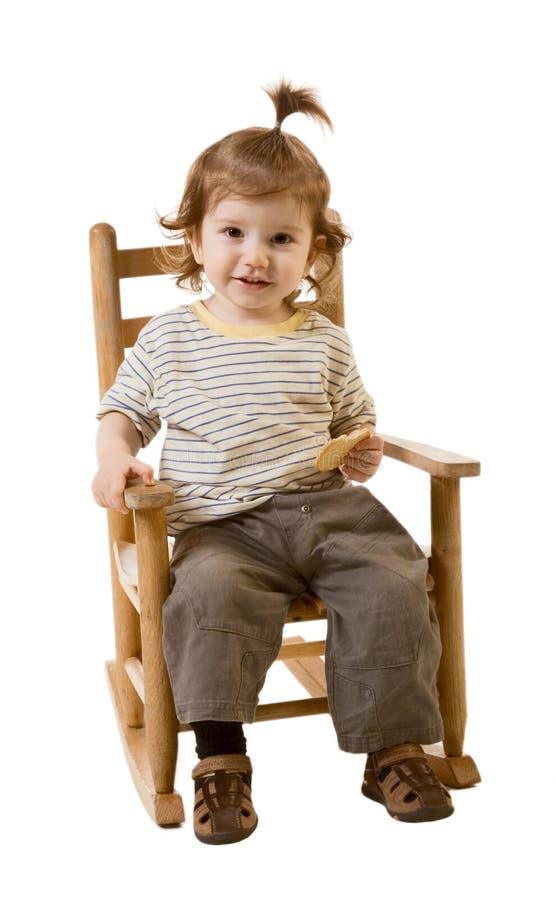 Portrait des lächelnden Babys mit dem langen Haar lizenzfreies stockfoto