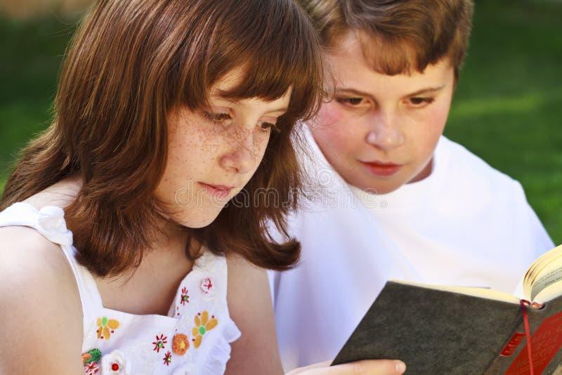 Portrait des livres de lecture mignons d'enfants dans l'environnement naturel photos stock