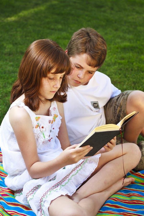Portrait des livres de lecture mignons d'enfants dans l'environnement naturel photo stock