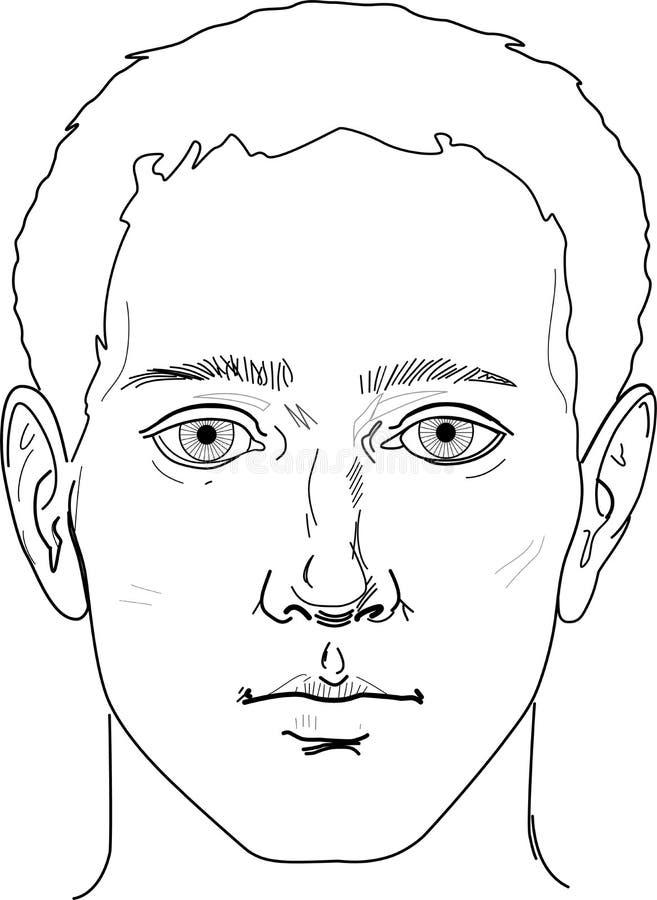 Portrait des Manngesichtes lizenzfreie abbildung