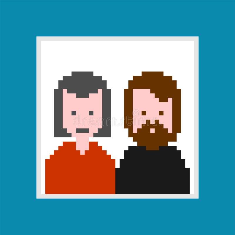 Portrait des parents dans l'art de pixel de cadre Bit de maman et de papa 8 chiffre illustration stock