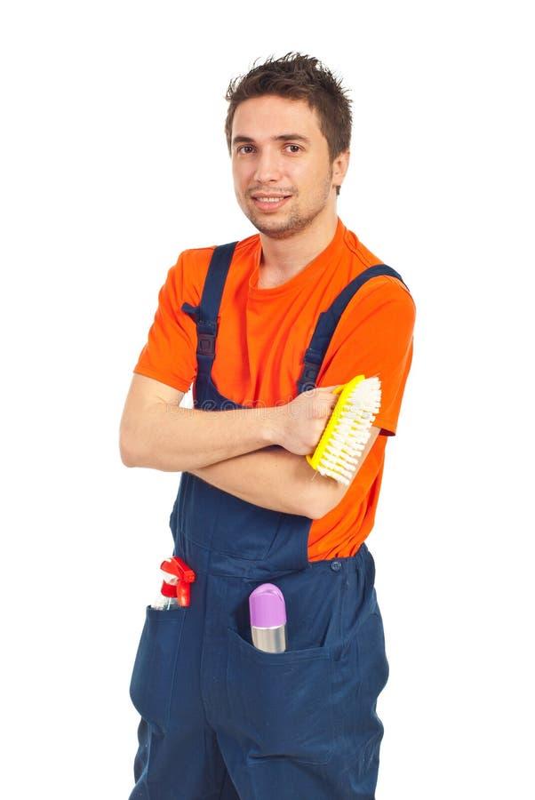 Portrait des Reinigungsarbeitskraftmannes lizenzfreies stockfoto