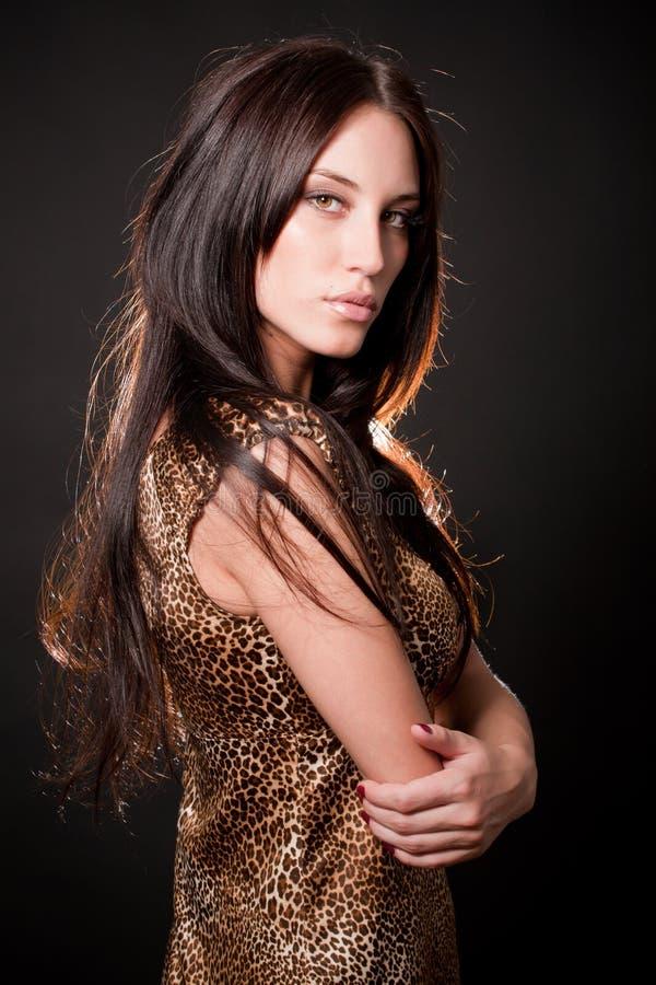 Portrait des reizvollen Mädchens des attraktiven Brunette lizenzfreies stockbild