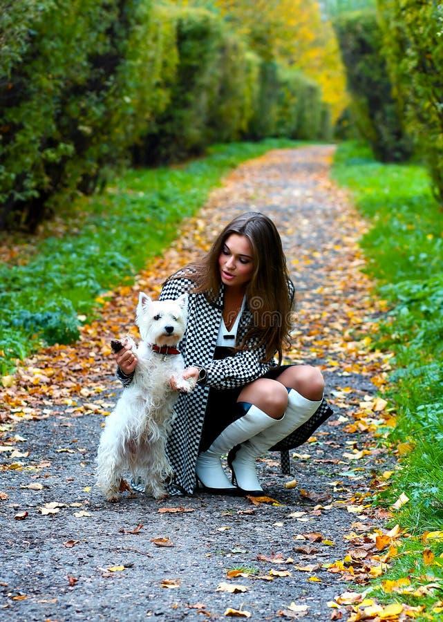 Portrait des schönen Mädchens mit ihrem Hund stockbild