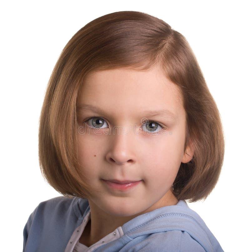 Portrait des sieben Einjahresmädchens lizenzfreie stockfotografie