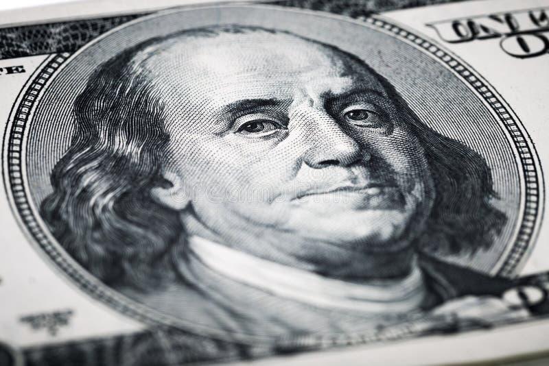 Portrait des tirs en gros plan de Benjamin Franklin dans la macro lentille de image stock