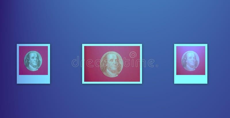 Portrait des US-Staatsmannes, -erfinders und -diplomaten Benjamin Franklin, wie er auf hundert Dollarscheingegenstücck schaut S P lizenzfreie abbildung