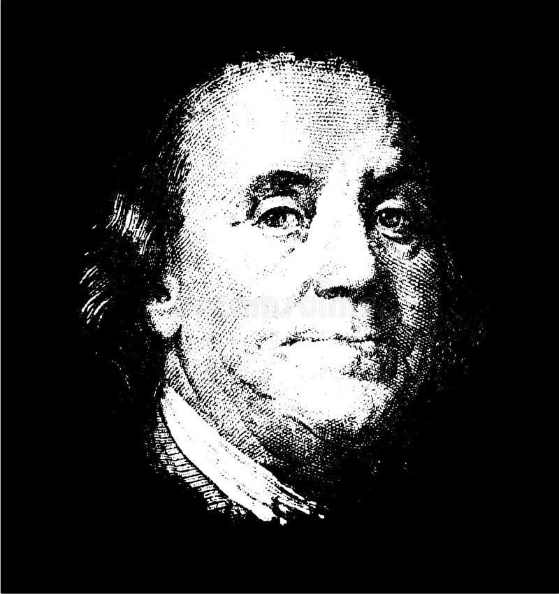 Portrait des US-Staatsmannes, -erfinders und -diplomaten Benjamin Franklin, wie er auf hundert Dollarscheingegenst?cck schaut S V lizenzfreie abbildung