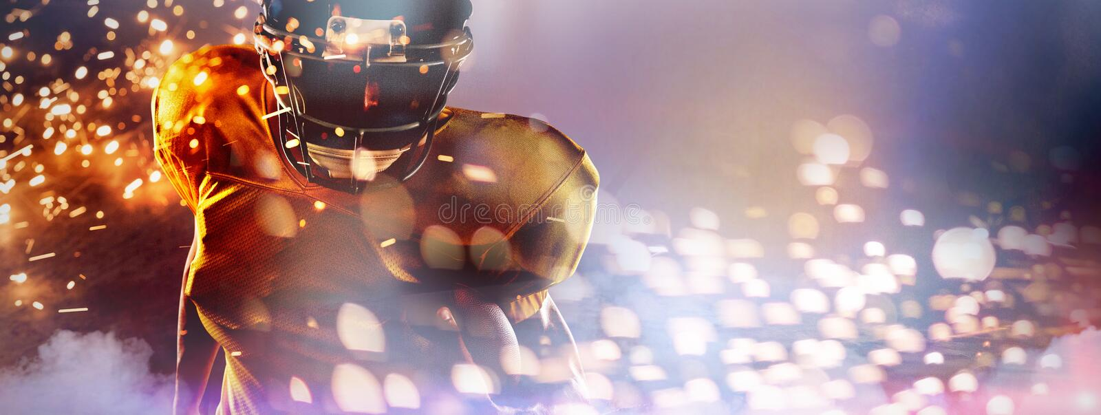 Composite image of portrait of determined american football player holding ball stock photos