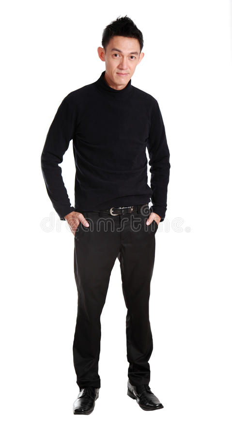 Portrait of determined goodlooking man wearing black. Shirt,asian young man royalty free stock images