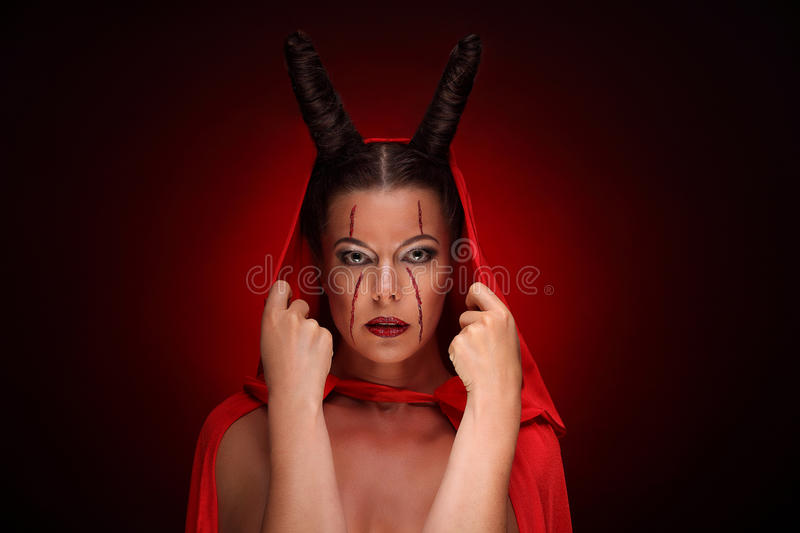 Portrait of a devil with horns. Fantasy. Art project. halloween stock photos
