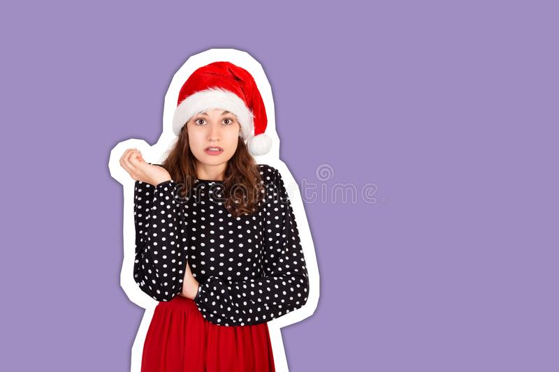 Portrait of disappointed pissed cute female in dress. Magazine collage style with trendy color background. holiday concept.  stock images