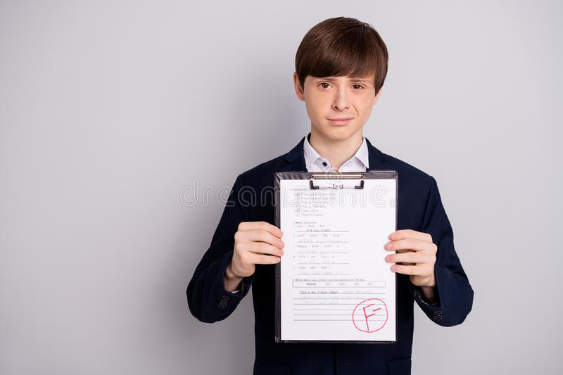 Portrait of disappointed upset boy have worst exam failure dressed fashionable clothing blazer white shirt isoalted. Portrait of disappointed upset boy have royalty free stock images