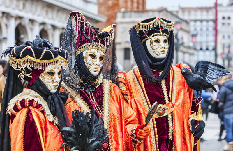 Portrait of Disguised Persons - Venice Carnival 2014 royalty free stock photos