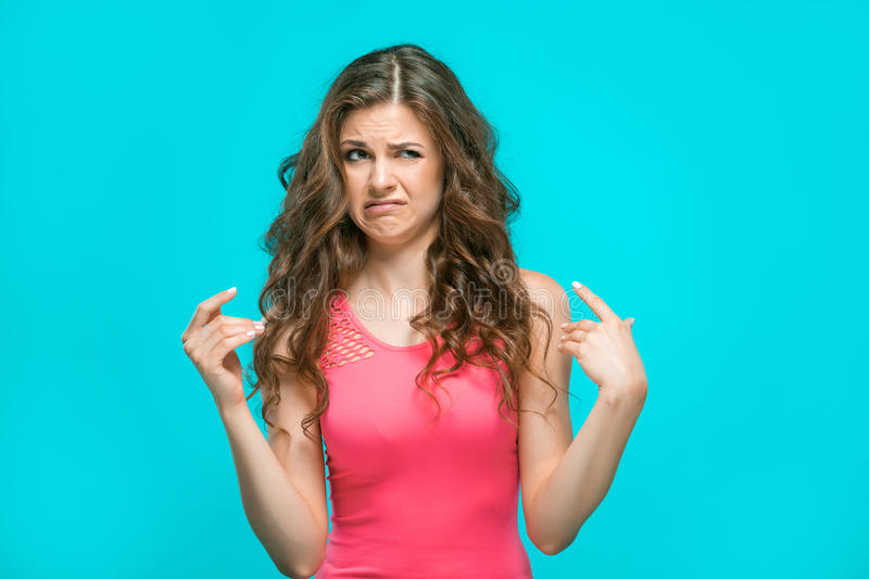 The portrait of disgusted woman royalty free stock images