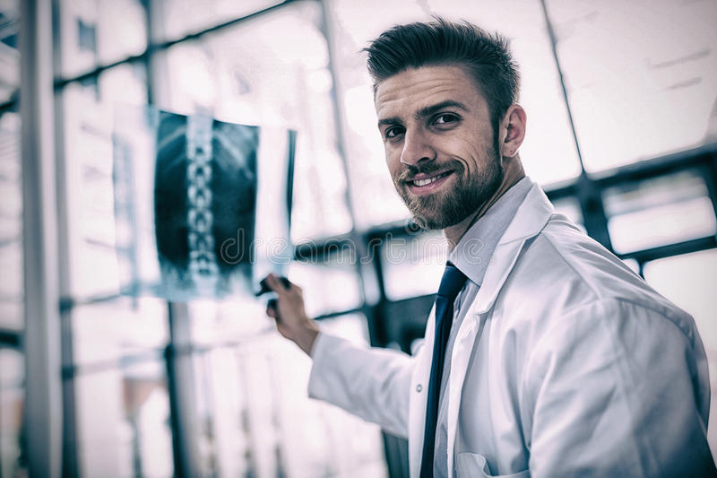 Portrait of doctor holding X-ray report. In hospital stock image