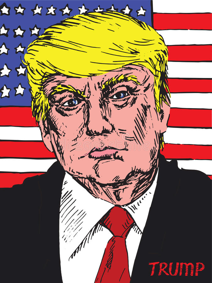 Portrait of Donald Trump American President on the background of the American flag stock photo