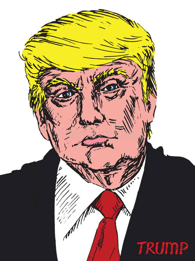 Portrait of Donald Trump. Drawn by hand vector illustration in pop art style vector illustration